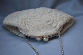 Cream Bridal Handbag - 1950s -  Seed Beads and Pearls - Austrial Crystal Jewelled Clasp  (SOLD)